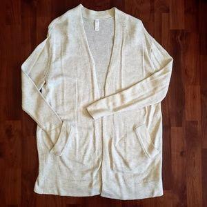 GapBody longline cardigan open front cream